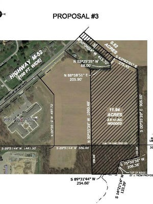 An overhead view shows a 12-acre parcel, shaded on the right side of the image, the city of Adrian has agreed to sell to the Lenawee Humane Society for a new facility. Interim city administrator Greg Elliott said there could be some modifications as final negotiations take place.