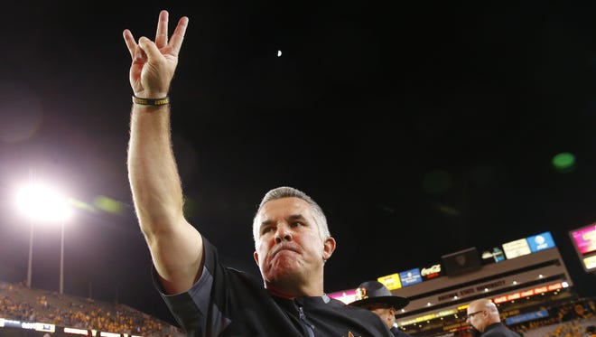Todd Graham celebrates after ASU's victory over Arizona in the 91st Territorial Cup game on Nov. 25, 2017, at Sun Devil Stadium.