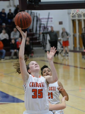 Cherokee's Ava Therien shoots the ball during last season's SJIBT championship against Shawnee. Therien and the rest of the Chiefs survived a tough preseason and carried the momentum over to the regular season.