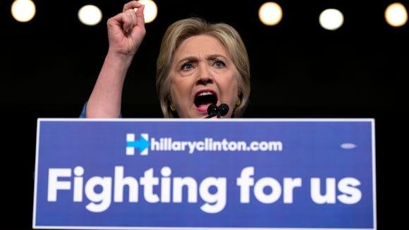 Hillary Clinton speaks in West Palm Beach, Fla., on