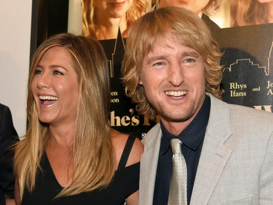 "Jennifer Aniston, left, and Owen Wilson arrive at the Los Angeles premiere of ""She's Funny That Way"" at the Harmony Gold theater on Wednesday, Aug. 19, 2015."