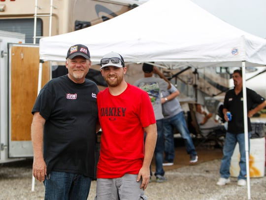 Dad Jeff Finley and son, ARCA driver Chad Finley pictured