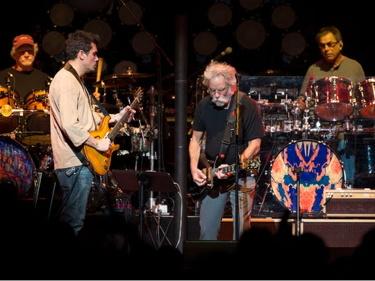 Dead & Company featuring Oteil Burbridge, Jeff Chimenti, Mickey Hart, Bill Kreutzmann, John Mayer, and Bob Weir perform at Wells Fargo Center. 