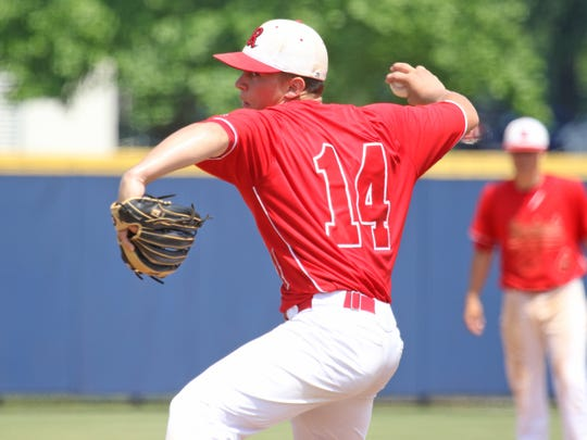 Riverheads' Elijah Dunlap throws a pitch at the Virginia High School League Class 1 state baseball championship at Radford University in Radford on Saturday, June 9, 2018.