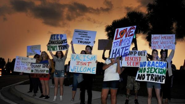 At one point, roughly 50 protesters demonstrated against Donald Trump at the corner of Airport and NASA boulevards during the candidate's September rally in Melbourne.
