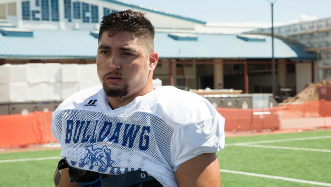 Senior Eloy Zubia is one of the key players on Las Cruces High's offensive line.