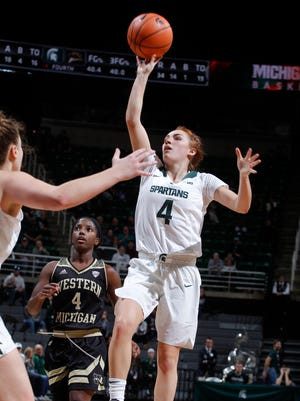 Michigan State's Taryn McCutcheon, right, puts up a floater against Western Michigan's Deja Wimby to put MSU up 65-62 in the final minute, Sunday, Dec. 3, 2017, in East Lansing, Mich. The game finished with the same score as MSU won 65-62.