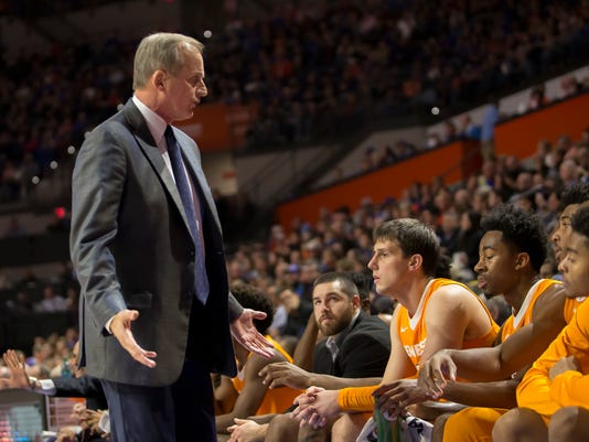 FILE - In this Saturday, Jan. 7, 2017, file photo, Tennessee head coach Rick Barnes talks with his bench during the first half of an NCAA college basketball game against Florida in Gainesville, Fla. Tennessee's struggles at protecting double-digit leads are hindering its surprising quest for an NCAA Tournament bid. (AP Photo/Ron Irby, File)