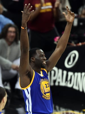 Draymond Green reacts to a call during the third quarter against the Cleveland Cavaliers in Game 4 of the Finals.