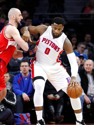 Pistons center Andre Drummond (0) gets defended by Wizards center Marcin Gortat (13) during the first quarter of the Pistons' win Friday at the Palace.