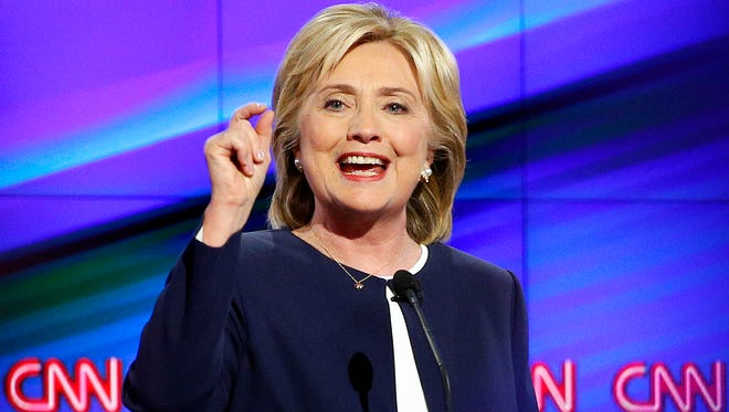 Hillary Rodham Clinton speaks during the CNN Democratic presidential debate Tuesday in Las Vegas.  It was the first Democratic presidential debate, with the five candidates outlining competing visions for a party seeking to keep the White House for a third straight term.
