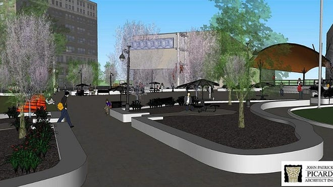 A digital illustration of what a revamped Duncan Plaza could look like with a new amphitheater and walkways.