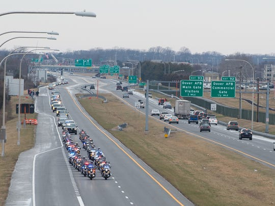The funeral procession for Lt. Steven Floyd travels on Route 1 to Barratt's Chapel in Frederica.