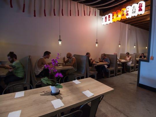 Diners slurp on noodles at Miyagi Ramen Bar in Rehoboth