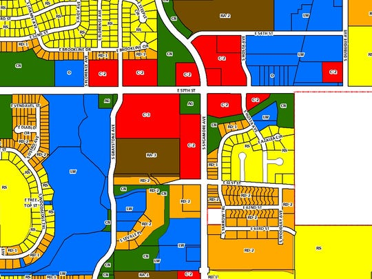 A zoning map shows the city of Sioux Falls' plan for