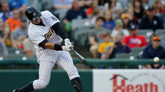 New York Yankees third baseman Alex Rodriguez gets a hit during a minor league rehab start for the Trenton Thunder against the New Hampshire Fisher Cats on Tuesday, May 24, 2016, in Trenton, N.J.