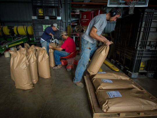 Earl Canfield and his wife, Jane, sew bags of horse feed shut as their son Matthew stacks them at their Dunkerton farm, Monday, Oct. 2, 2017.