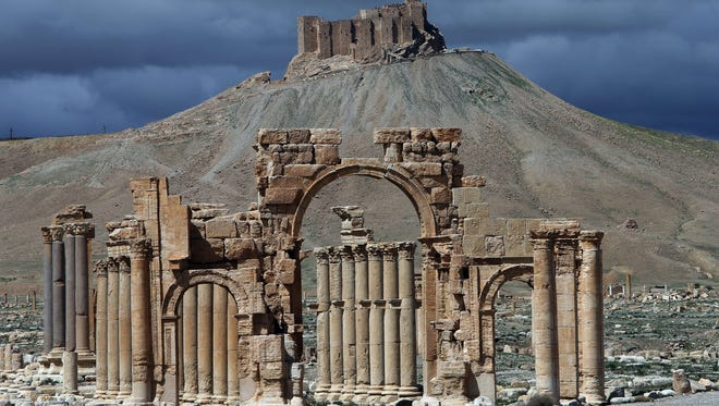 A partial view of the ancient oasis city of Palmyra.