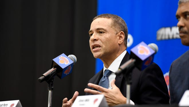 New York Knicks new general manager Scott Perry speaks during a press conference at the Knicks Training Facility in Tarrytown, NY on Monday, July 17, 2017.