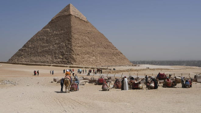 Giza pyramids complex on the southwestern outskirts of the Egyptian capital Cairo.