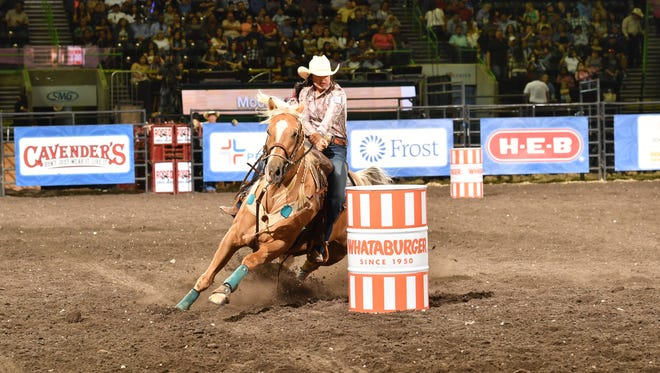 Barrel racer Hailey Kinsel at Rodeo Corpus Christi. The Cotulla, Texas native broke the record for barrel racing at the 2017 Wrangler National Finals Rodeo, clocking in at an unbelievable 13.11 seconds.