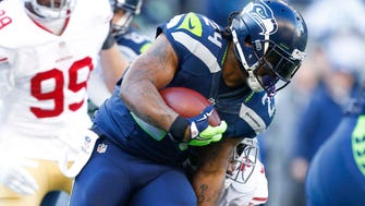 Seahawks RB Marshawn Lynch's 16 TDs lead all players in 2014.