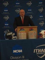 SUNY Cortland head football coach Dan MacNeill speaks