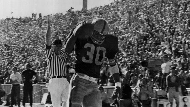 Arizona State split end, Cal Demery races over the goal line after catching a long pass from quarterback Danny White during the first Fiesta Bowl in 1971 against the Florida State Seminoles in Tempe, Ariz., Dec 27, 1971.