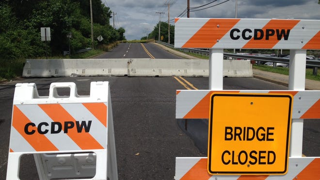 Sign showing that White Horse Road Bridge is closed