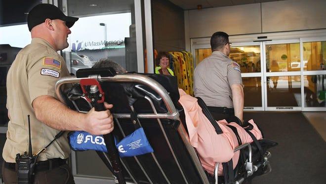 Worcester EMS paramedics transport a patient.