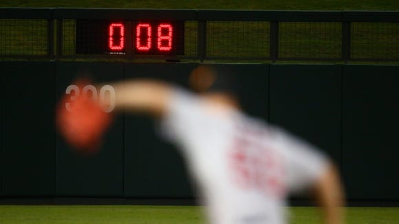 A 20-second pitch clock was used in the Arizona Fall League last year.