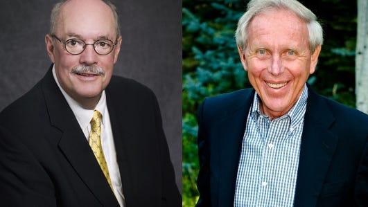 Michael Martin, left, and Joe Blake are chancellors emeritus at Colorado State University