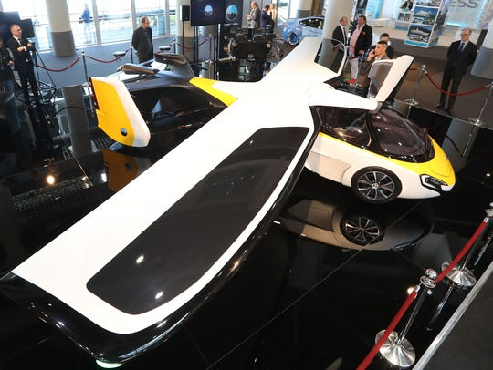 The Aeromobil, a flying supercar, is on display as
