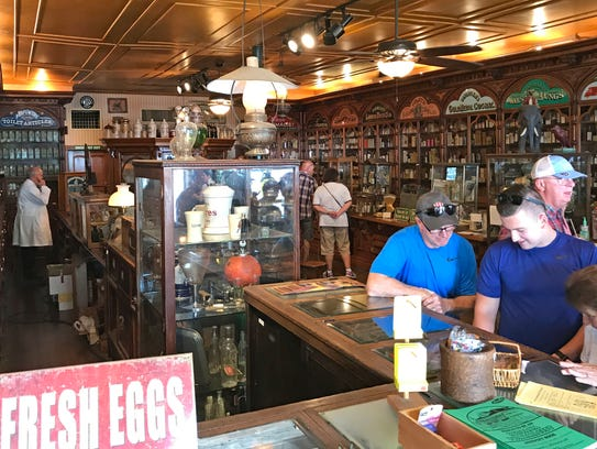 Visitors to the Hook's Historical Drug Store and Pharmacy