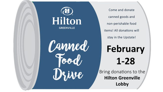 Hilton Greenville is hosting a canned food drive through the entire month of February.