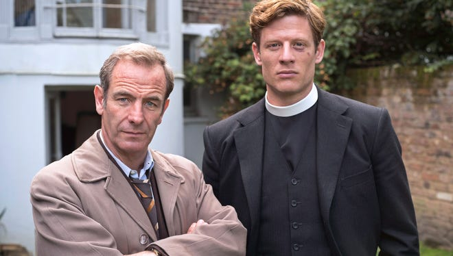 "Robson Green (left) and James Norton star in the mystery series ""Grantchester."""