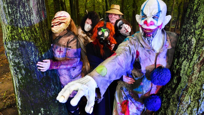 A group of ghouls haunt the woods at at Spider Hill at Three Sisters Park in Chillicothe in this archived photograph. The park announced Wednesday that the 2020 event has been canceled because of the coronavirus.