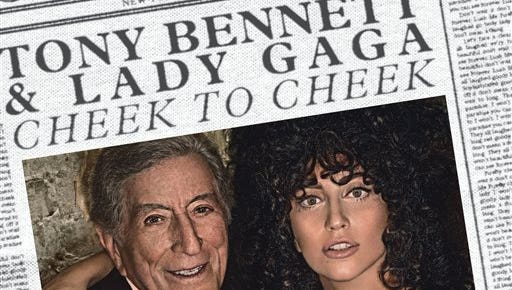 """This CD cover image released by Interscope shows """"Cheek to Cheek,"""" by Tony Bennett and Lady Gaga."""