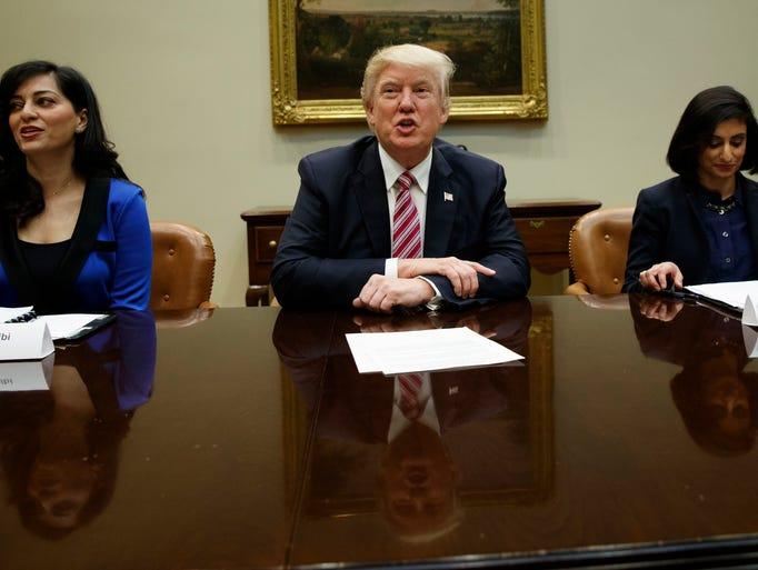 Trump speaks during a meeting on women in health care