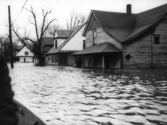 Water flooded the first floors of houses in 1947.