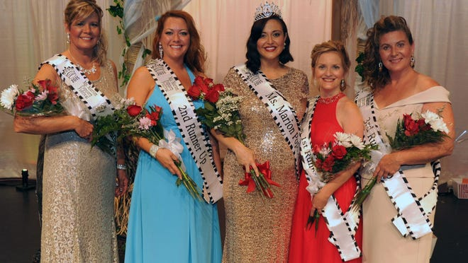 Ms. Marion Popcorn Festival court, from left, fourth runner-up Dina Rudd, second runner-up Tammy Harrison, Ms. Marion Popcorn Festival Paige Filliator, first runner-up Stacie Hines and third runner-up Christina Nye.