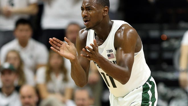 Michigan State guard Lourawls Nairn Jr. (11) reacts to a play during the second half of MSU's 100-53 win Friday at Breslin Center.