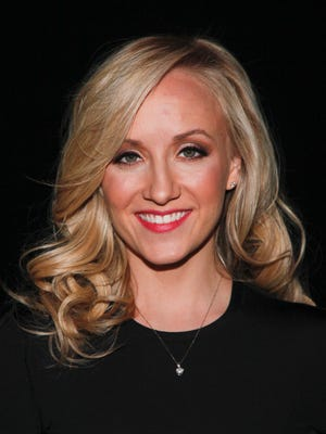Nastia Liukin attends the Badgley Mischka Fall 2015 show during Mercedes-Benz Fashion Week Fall 2015 at The Theater at Lincoln Center on Tuesday, Feb. 17, 2015, in New York.