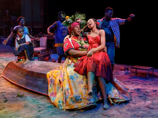 """Alex Newell and Hailey Kilgore in """"Once on this Island."""""""