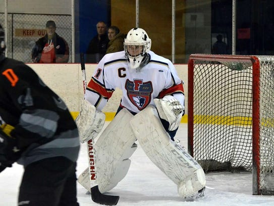 Livonia Franklin goalie and co-captain Will Augustine