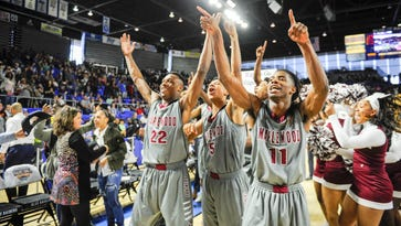 Maplewood Panthers celebrate after defeating Knoxville Catholic 60-57  in Division 1 AA Boys TSSAA State Championships at the MTSU's Murphy Center in Murfreesboro, Tenn., Saturday, March 18, 2017.