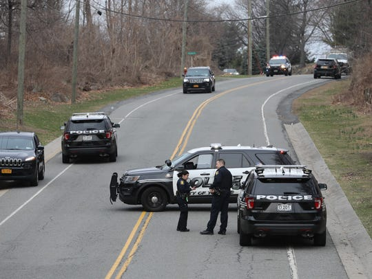 Yonkers police block the entrance to the Dunwoodie