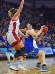 SDSU's Myah Selland goes against USD defense in the