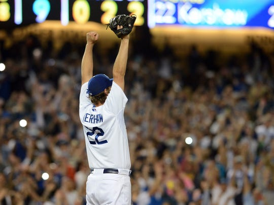Dodgers starting pitcher Clayton Kershaw celebrates after recording the final out of his no-hitter against Colorado at Dodger Stadium on June 18, 2014.