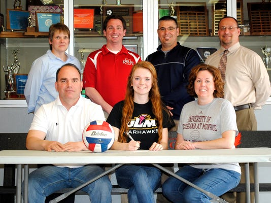 Seated, from left, is Brett Hoffman (father and coach), Bayleigh Hoffman, Jennifer Hoffman (mother), Standing, from left, is Bobbie Strausbaugh (coach), Mr. David App (ATC/Asst AD), Mr. Rich Leathery (Athletic Director), Mr. William Rickard (HS Principal). (SUBMITTED)